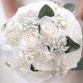 Простой стиль, Кот роза брошь букет, Брошь жемчуг свадебный букет невесты, Элегантный мягкий белый свадебные букеты декор
