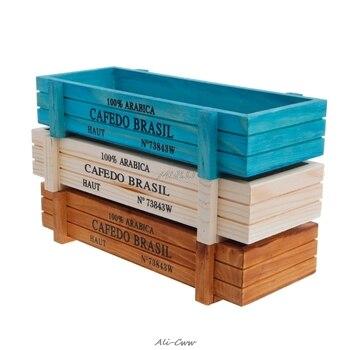 Maceta para planta de jardín, cajas de madera decorativas Vintage para suculentas, mesa rectangular, maceta para flores, dispositivo de jardinería, triangulación de envíos