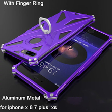 for iphone x 8 7 xs case men 360 Metal Ring phone case for Apple iphone8 x 7plus bumper aluminum cover mobile phone support цена 2017