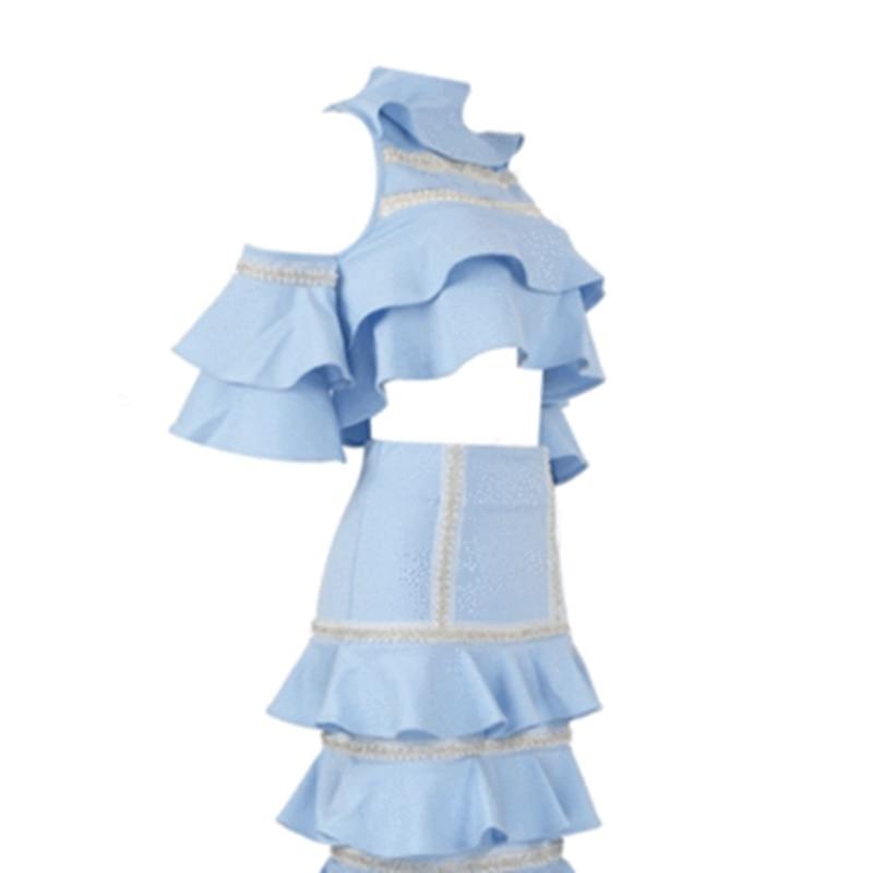Ciel Épaule 2 Sexy Vestidos 2018 Pièces Bleu Femme Volants Patchwork Soirée Élégante Robe Hors D'été Deux vmwN8On0