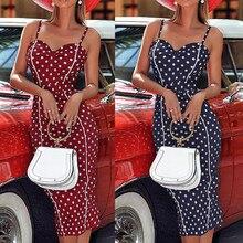 Fashion Boho Plus Size Dress Women Summer Sexy Femmes Sleeveless Off Shoulder V-Neck Slim Dot Mid-Calf Fork Bodycon Dress