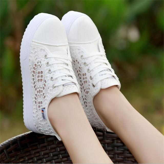 Sneakers Women Fashion Breathable Platform Casual shoes dropshing Lace Leisure flat white canvas Women's Vulcanize Shoes CLD902 4