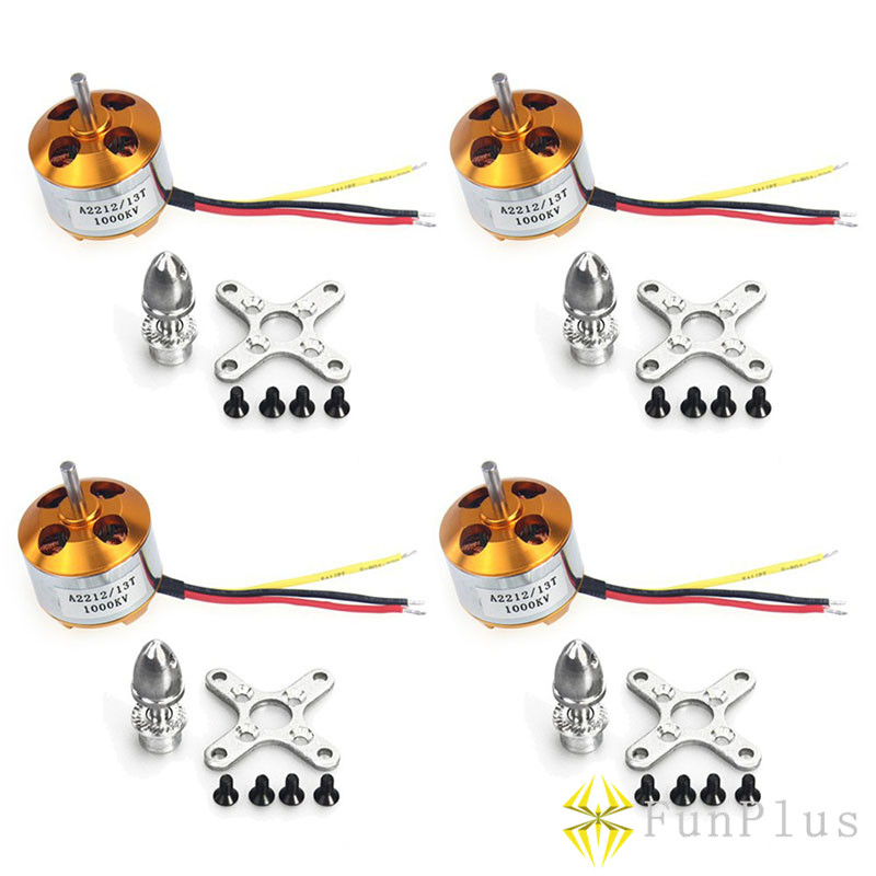 4pcs A2212 1000KV Motors Brushless Outrunner Motor 13T with Mounts for Multicopter DIY Aircraft Multirotor Quadcopter Drone FPV 4set lot universal rc quadcopter part kit 1045 propeller 1pair hp 30a brushless esc a2212 1000kv outrunner brushless motor