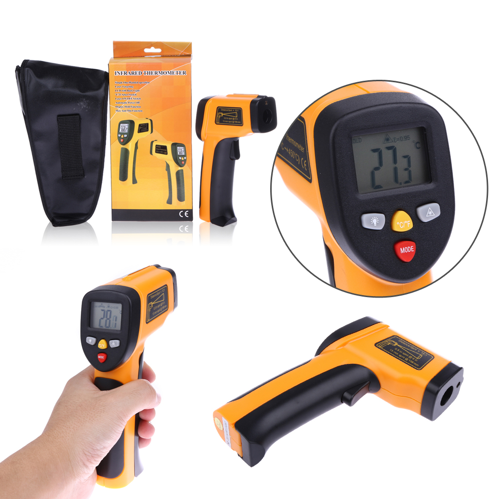 1pcs Lcd Digital Display Ir Infrared Thermometer Laser Non Contact Power Monitor Temperature Tester Gun Pyrometer Hand Tools