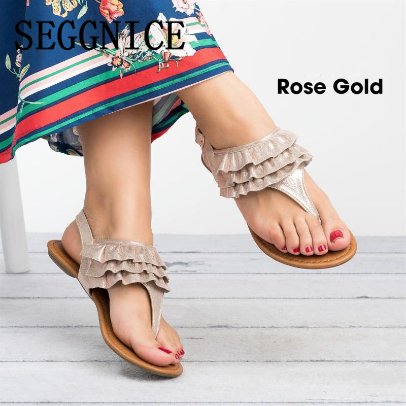 2019 Vintage Boho Women's Sandals Flat Lace Holiday Shoes Women Bohemia Sandals Plus Size Beach Summer Fashion Woman Shoes