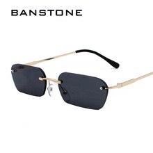 BANSTONE Brand Vintage Small Rectangle HD Sunglasses Men Wom