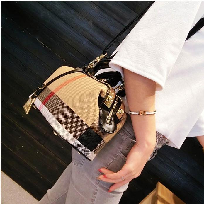 Dames sac à main 2018 femmes toile cuir sacs à main sacs à main Plaid docteur sac de haute qualité grande capacité femme sac à bandoulière noir - 3