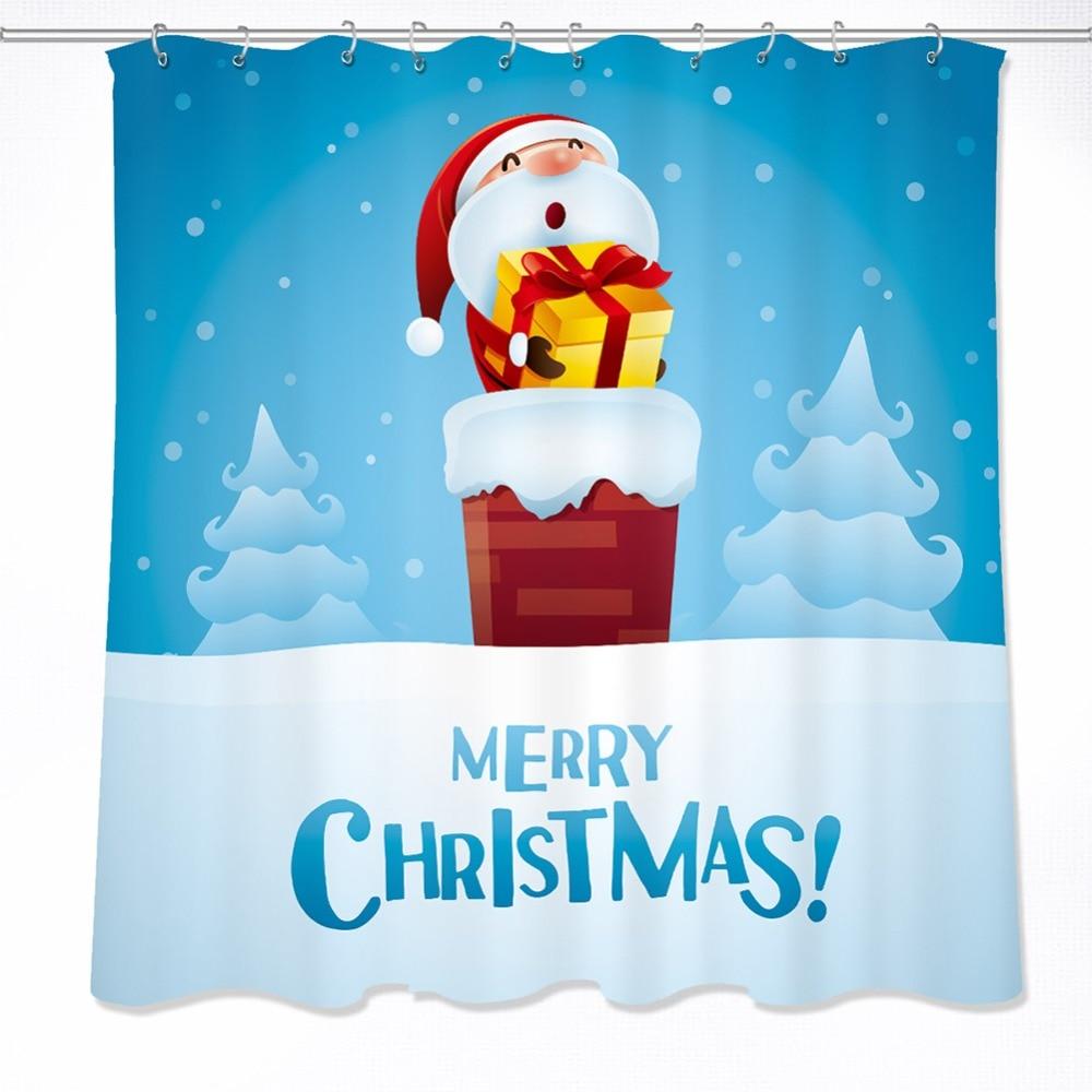 Merry Christmas Santa Claus Shower Curtain Bathroom Waterproof Fabric /& 12Hooks
