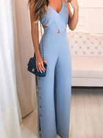 Women Elegant Workwear Jumpsuits Sleeveless Overalls Sexy Crisscross Spaghetti Strap V Neck Button Slit Side Jumpsuit