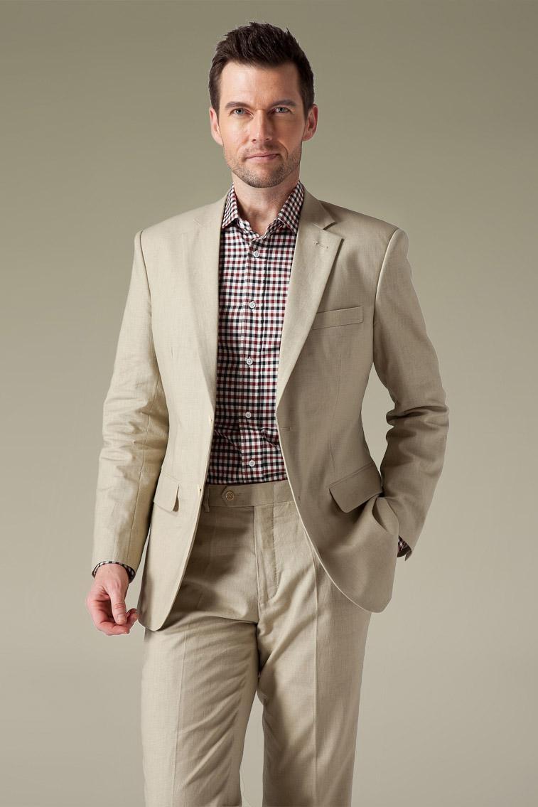 2017 Latest Coat Pant Design Khaki Men Suit Summer Casual Slim Fit 2 Piece Tuxedo Style Suits Custom Blazer Vestido Jacket+Pant