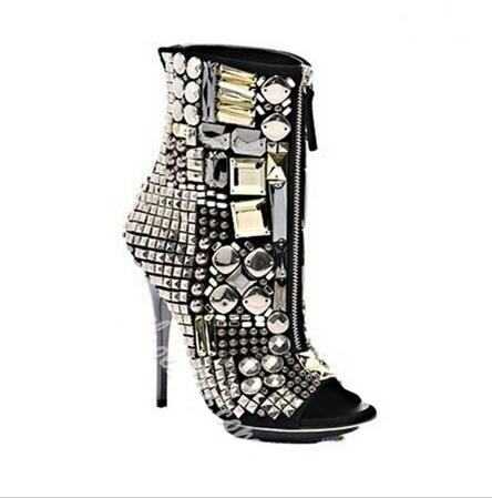 Vestido Para Frontal Toe Botas Picture Crystal Grande Sandalias Peep Botines As Zapatos Altos Cremallera Tamaño 10 Tacones Mujeres Las Gladiador Lujo 68IqE