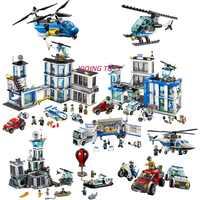 Toutes les séries compatibles Legoe ville Police centre de commandement voiture modèle blocs de construction briques jouets pour enfants enfant cadeau