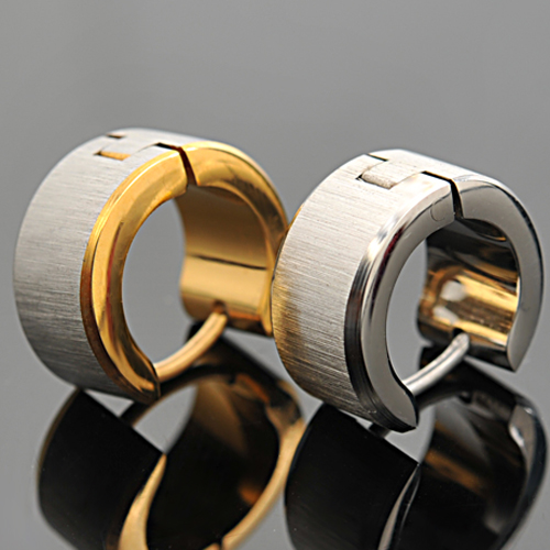 NIENDO Cool,Rock Stud Earrings Simple Stainless Steel Huggie Clip On Hiphop Men Earrings !! LE004