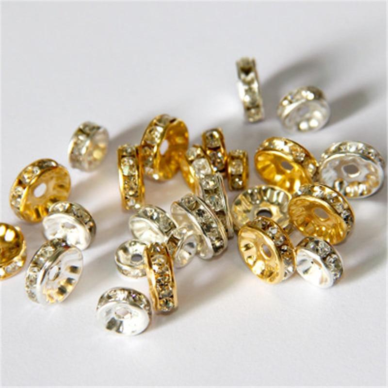 200pcs Wholesale Rhinestone Spacer Beads Rondelle Loose Bracelet Findings 6mm