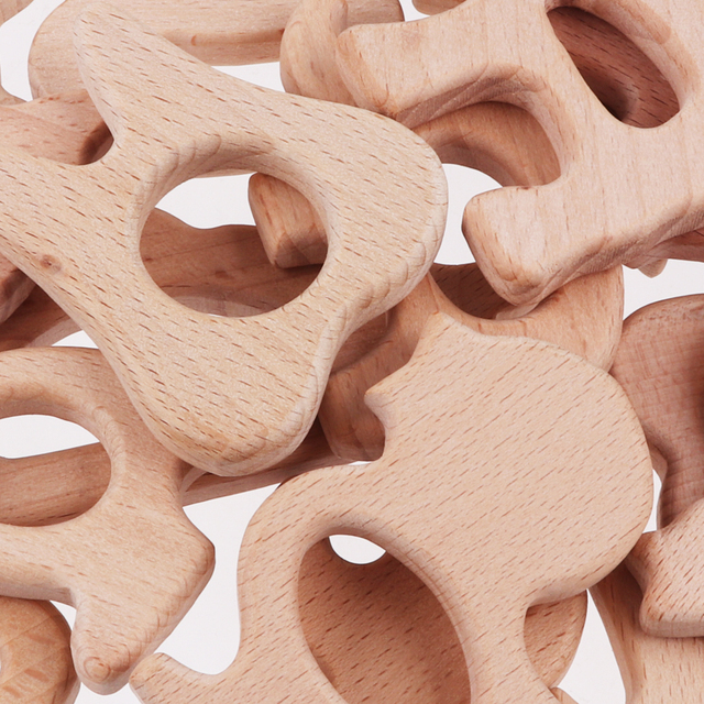 Animal and Plant Shaped Wooden Baby Teether
