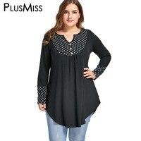Plus Size 5XL Vintage Polka Dot Patchwork Tunic Asymmetrical Top Autumn 2017 Long Sleeve Loose Blouse