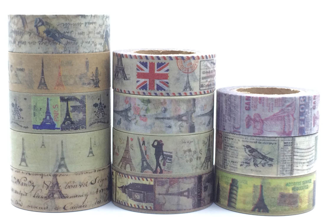 Retro Eiffel Tower Vintage Washi Paper Masking Tapes DIY Decorative Stickers Gift Wrapping Sticker Party Favor