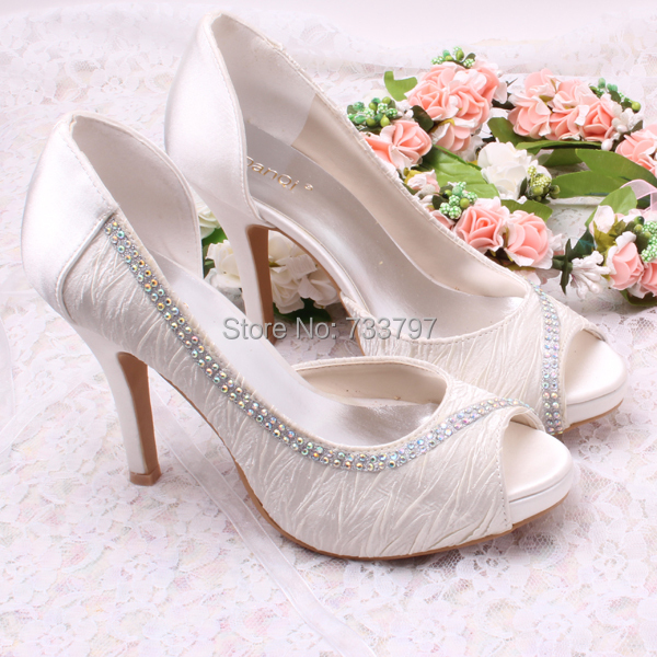ФОТО Wedopus Brand Name High Quality Open-toe High Heel Bridal Shoes Wedding White