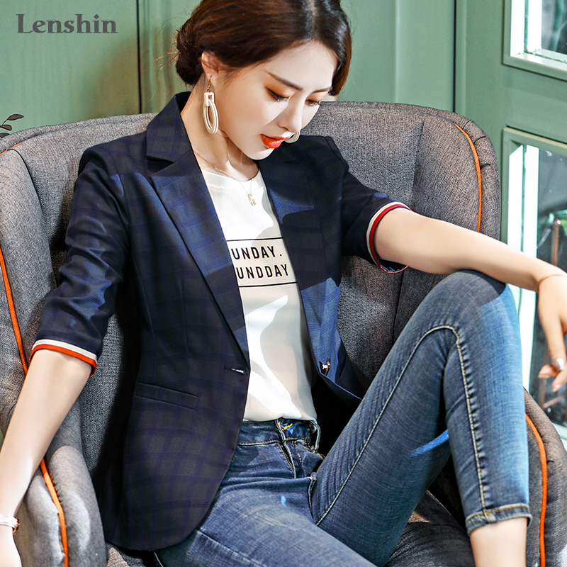 Lenshin Plaid Jacket For Women Summer Wear Female Casual Style Breathable Coat Half Sleeve Blazer Contrast Sleeve Tops Outwear
