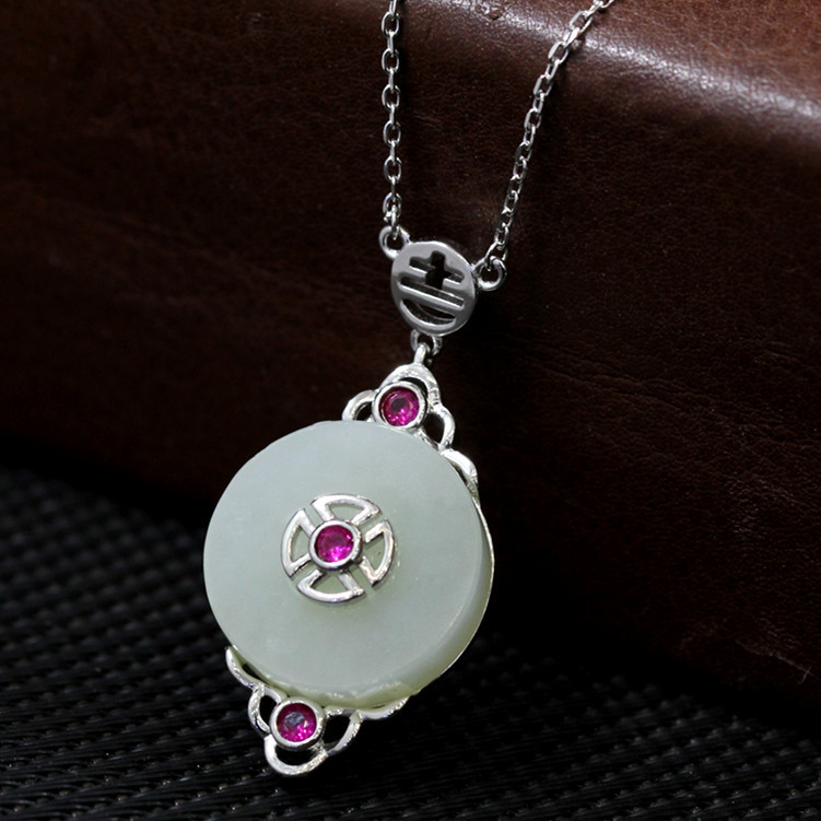 S925 silver jewelry original design fashion  natural and Hetian necklace  PendantS925 silver jewelry original design fashion  natural and Hetian necklace  Pendant