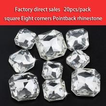 Super shining White Square Eight corner Pointed bottom crystal rhinestones DIY Watch