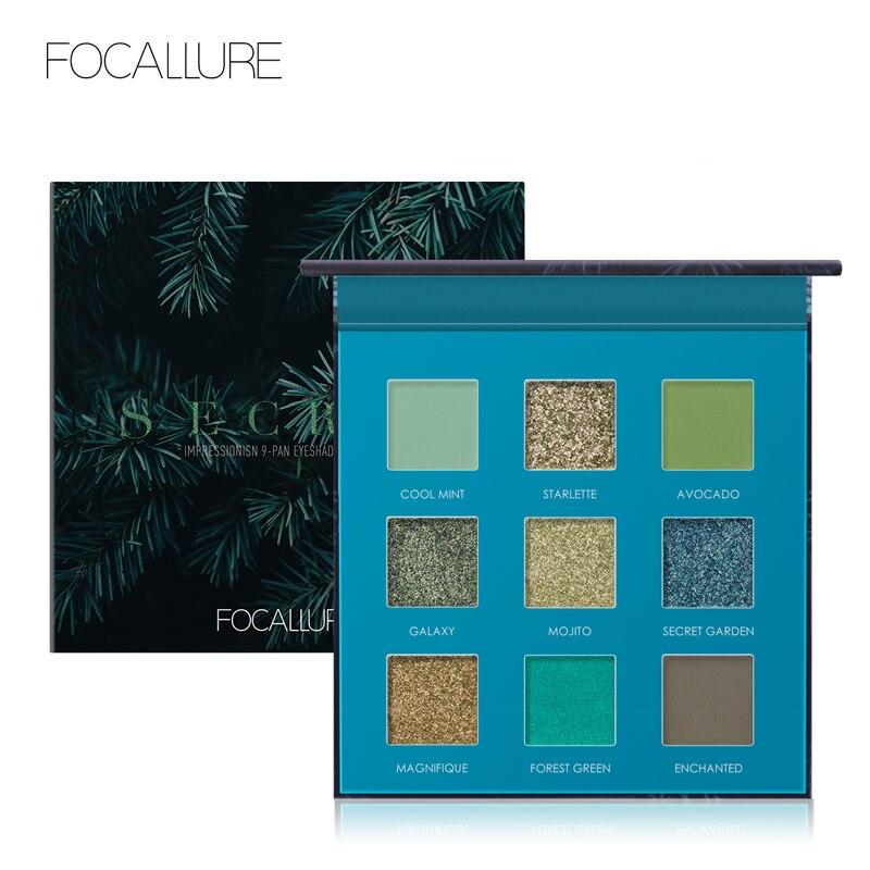 FOCALLURE 2019 New Green Glitter Eyeshadow Palette High Quality Pigmented Powder Fashion Eye Shadow Matte Eyes Makeup Pallete
