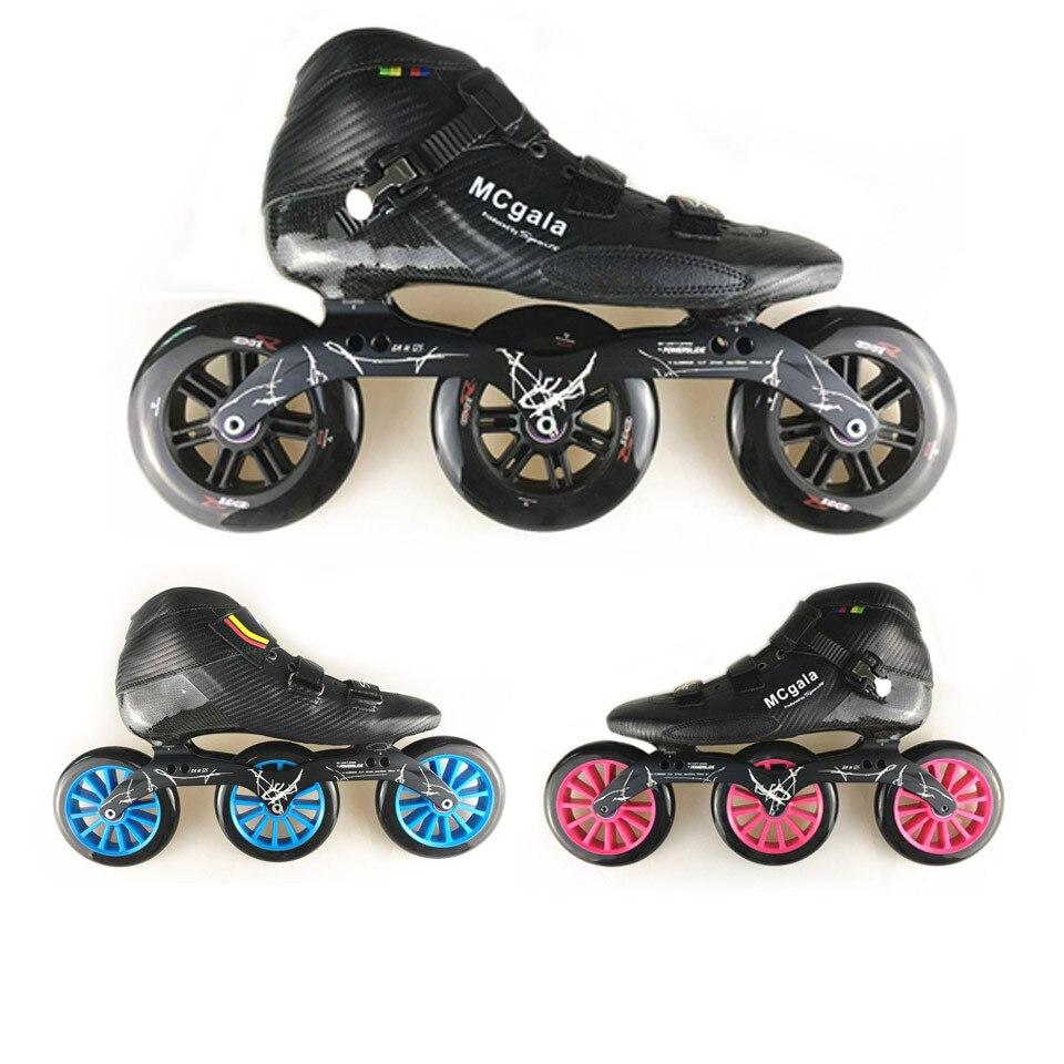 JEERKOOL fibre de verre carbone 3*125mm roues patins de vitesse en ligne enfant adulte débutant course de vitesse entraînement rue MCgala chaussures SH41