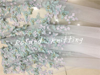 New 3D stereo flower butterfly water soluble lace applique fabric embroidery gauze European high end wedding dress fabric