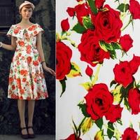 Vintage Rose Clothes Fabric Fashion Vintage 100 Cotton Satin Diy Print Dress Fabric