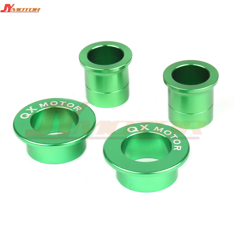 Motorcycle <font><b>parts</b></font> CNC Billet QX logo Front & Rear Wheel Hub Spacers Fit <font><b>KX125</b></font> KX250 KXF250 KXF450 Dirt Bike Off Road image