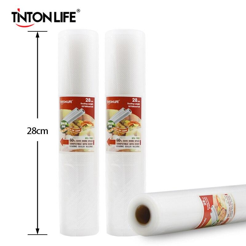 TINTON LIFE 28 cm x 500 cm rollos ahorrador del alimento del sellador del calor del vacío bolsas de almacenamiento de alimentos Saran Wrap