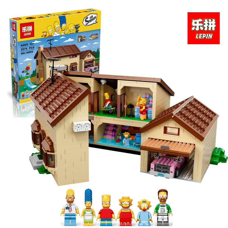 Lepin 16005 2575Pcs Simpson's family Kwik-E-Mart Set Building Blocks Bricks Educational legoINGlys 71006 Children DIY Gift free shipping new lepin 16009 1151pcs queen anne s revenge building blocks set bricks legoinglys 4195 for children diy gift