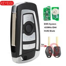 Keyecu EWS Modified Flip Remote Key 4 Button 433MHz PCF7935AA ID44 Chip for BMW E38 E39 E46 M5 X3 X5 Z3 Z4 HU92 Blade jingyuqin hu58 4 buttons remote key case for bmw e38 e39 e46 ews system ask 433mhz 315mhz with pcf7935aa id44 chip uncut blade