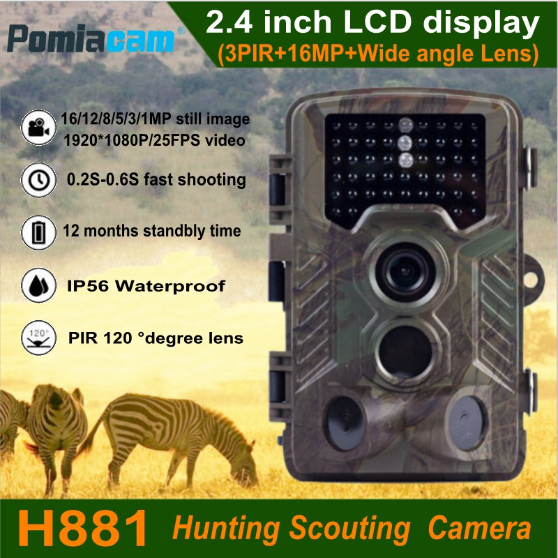 H881 16MP 1080P Wildlife Trail Game Camera Outdoor Hunting Scouting Camera Digital Surveillance Camera Wide Angle