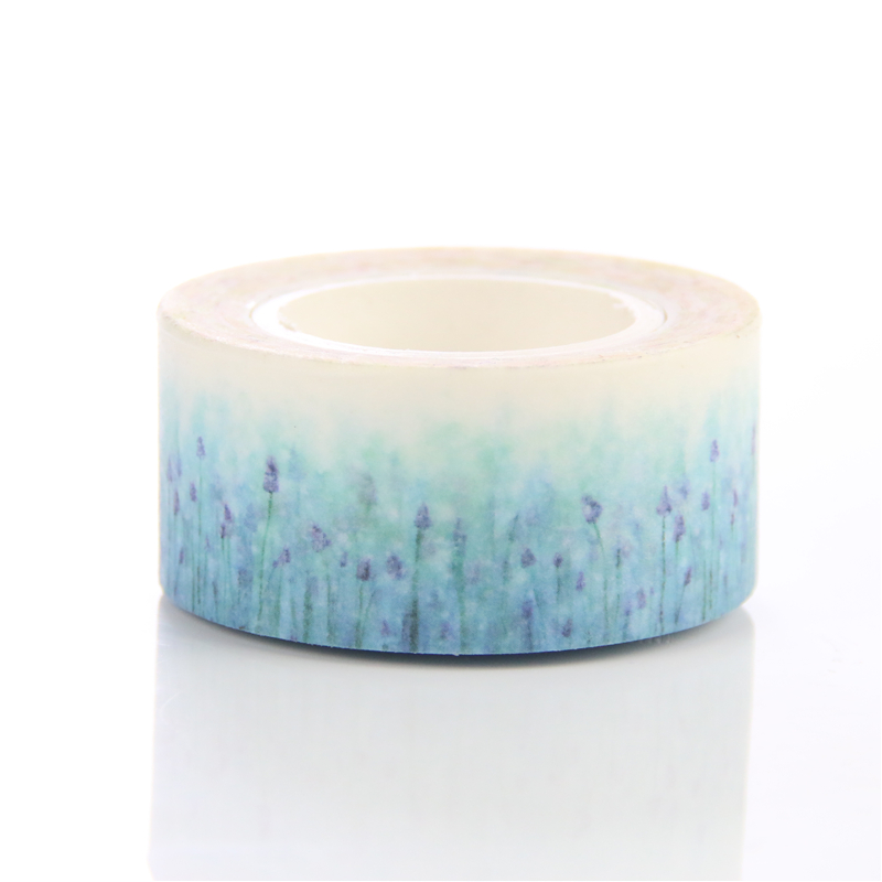 1 pc pack beautiful lavender flower washi paper masking tapes for scrapbooking tape diy. Black Bedroom Furniture Sets. Home Design Ideas