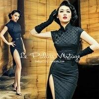 Le Palais Vintage Elegant Chinese Female Qipao Dress Black Dot Cheongsam Women Satin Split Dress