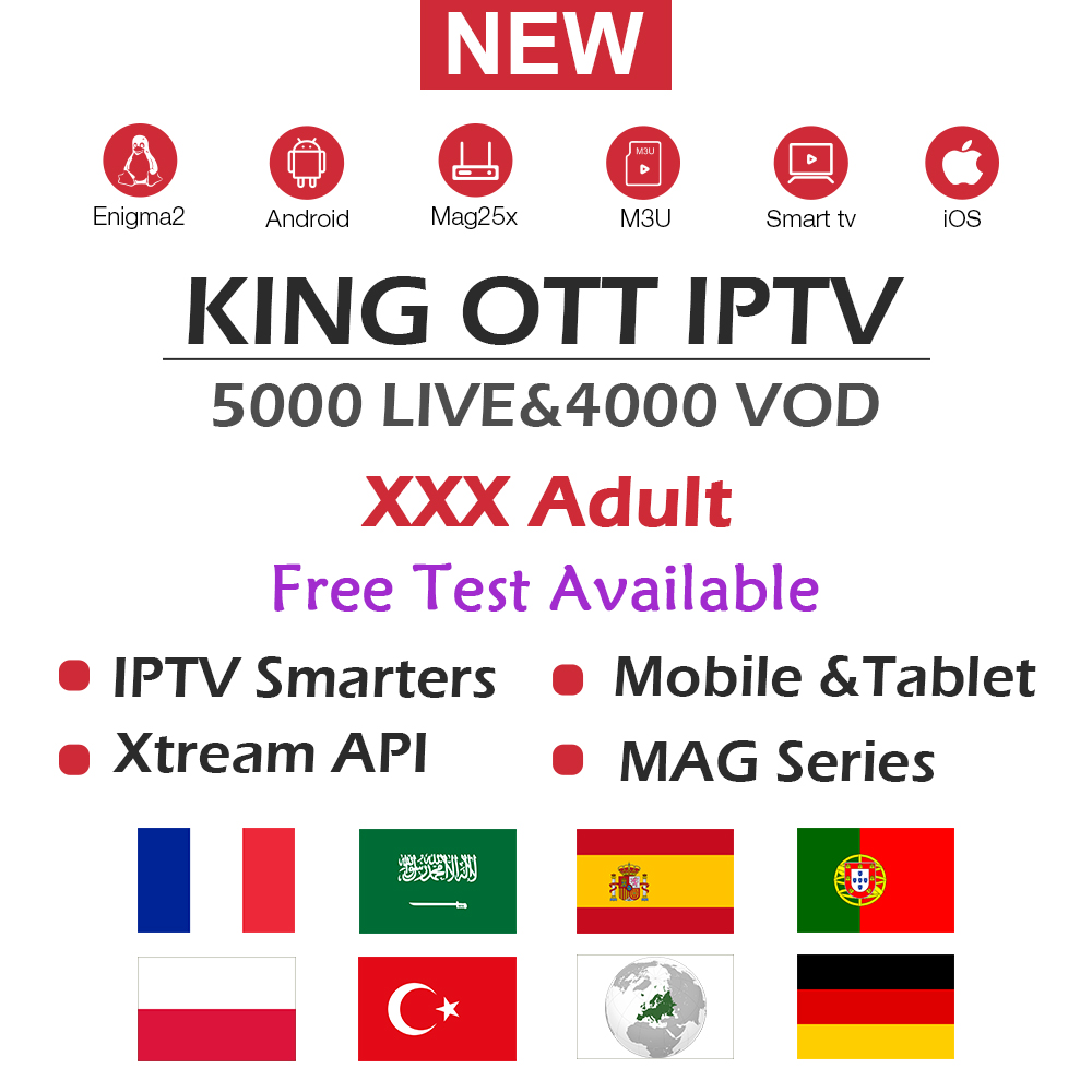 KING OTT French Iptv Subscription For France Arabic Spain Portugal Nordic Channel Support Adult M3u Enigma2 Smart Android TV Box