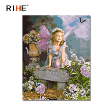 RIHE Fairy Butterfly Oil Painting By Numbers Angel Cuadros Decoracion Acrylic Paint On Canvas For Artwork Modern Home Decor 2018