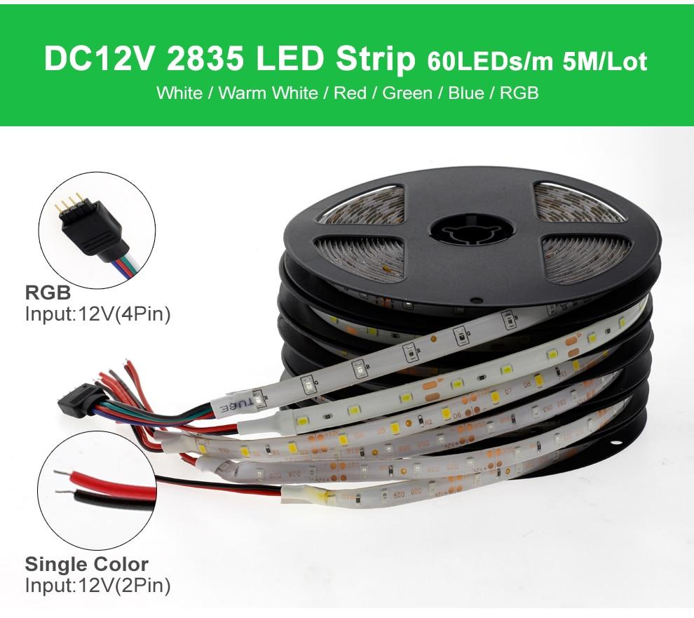 HTB1tR5PPPTpK1RjSZKPq6y3UpXaI RGB LED Strip Light 5050 2835 DC12V Neon Ribbon Waterproof Flexible LED Diode Tape 60LEDs/m 5M 12V LED Strip for Home Decoration