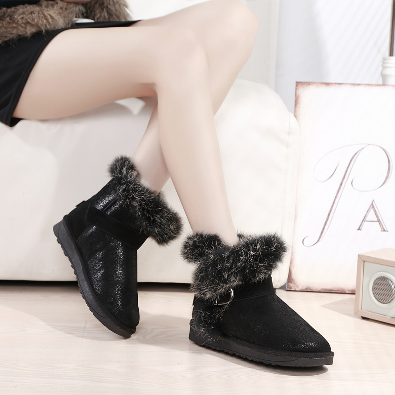high quality winter font b women b font snow boots bling buckle closure warm keep fashion