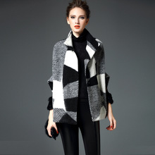 2017 Autumn winter high quality wool woolen coat Fashion female Elegant temperament short-wool-coat Batwing Sleeve Plaid Jackets(China)