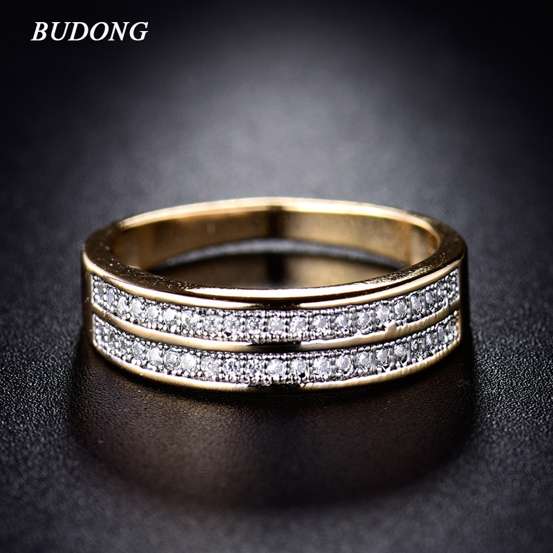 BUDONG Ringer for Women Valentine Present Fashion Two Row Krystall Gull-Farge Mid Ring Cubic Zirconia Bryllup Smykker XUR248