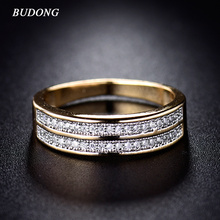 BUDONG Rings for Women Valentine Present Fashion Two Row Crystal Gold-Color Mid Ring Cubic Zirconia Wedding Jewelry XUR248
