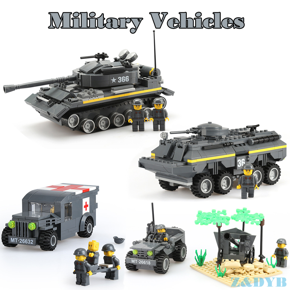 384 teile/los Heavy Tank Panzer Gepanzerte Medizinische Fahrzeug WW2 Military Autos Waffe Legoed Modell Baustein Ziegel Kinder Spielzeug