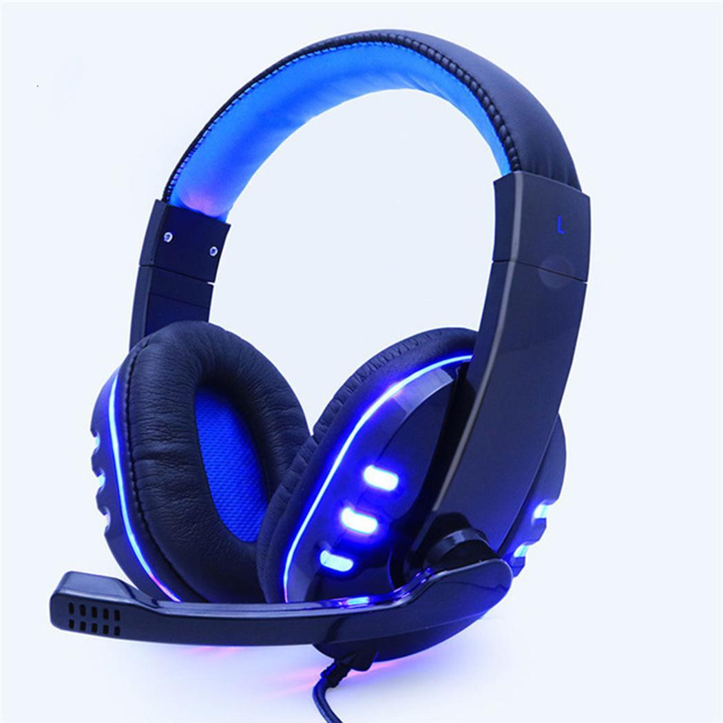 Glowing Gaming Headset Wired Computer Headphones With Microphone Heavy Bass Stereo Headband Earphones Wire Control Earpieces