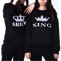 Rainha do rei impresso camisola Mulheres/Homens amantes casais Manga Comprida Solta Tops svitshot fatos Casuais para As Mulheres
