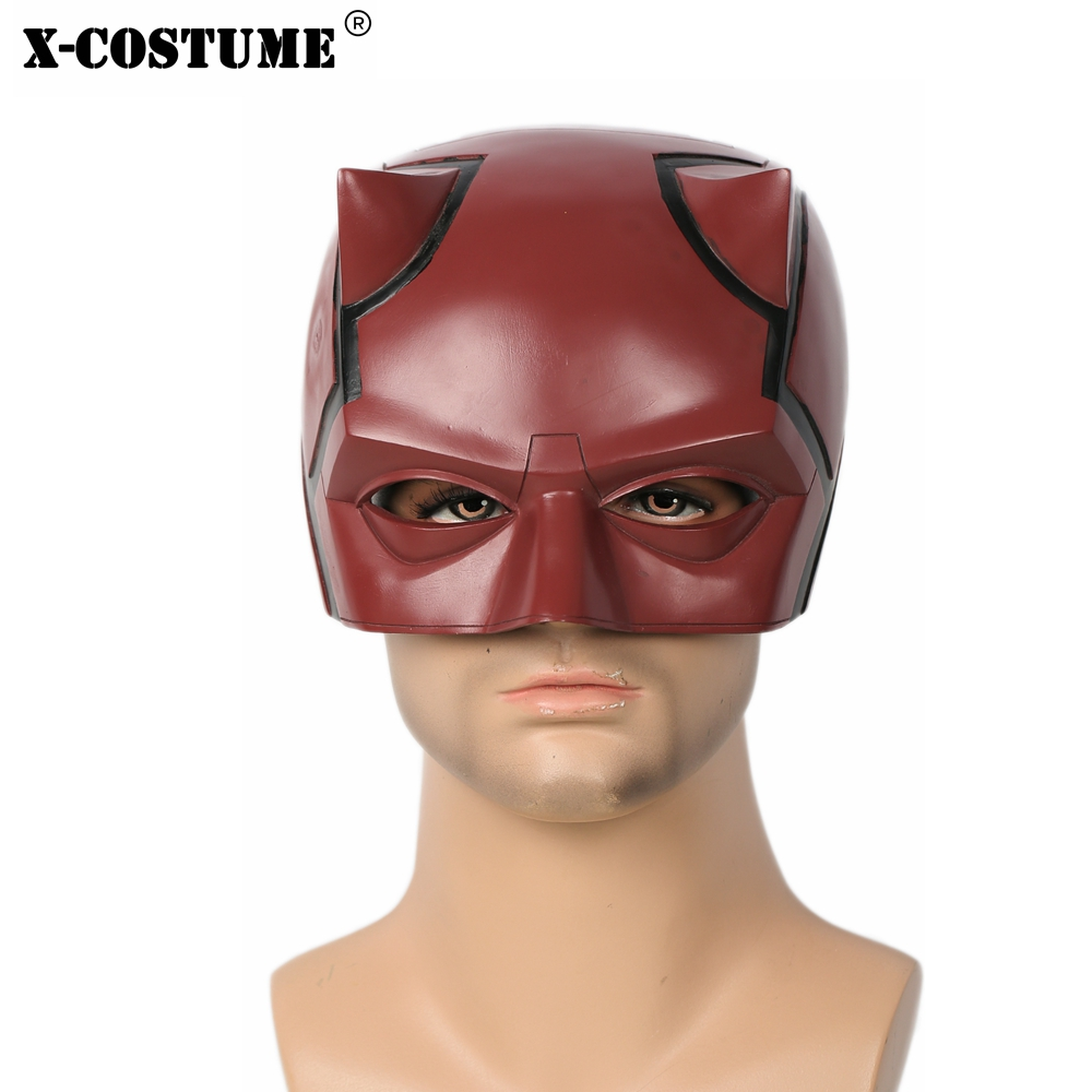 X-COSTUME Daredevil Deep Red Resin Helmet Half Face Mask Cool Cosplay Props 2018 Halloween Festival Christmas Party Face Masks