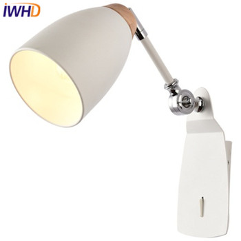 IWHD Simple Modern Wall Sconce Adjustable Iron LED Wall Light Fixtures Aisle Home Indoor Lighting Switch Bedside Wall Lamp