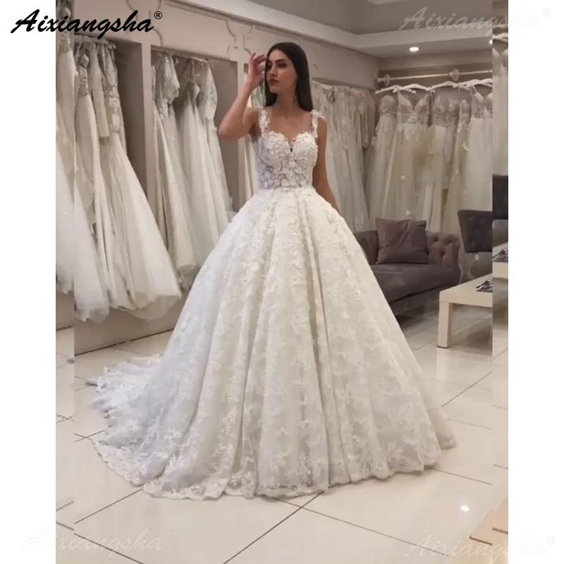 Vestido De Noiva 2019 Romantic Wedding Dresses Ball Gown Flowers Lace Sweetheart Dubai Arabic Wedding Gown Ivory Bride Dress