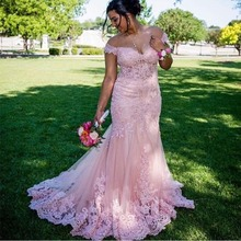 Hazy beauty Plus Size Off Shoulder Pink Evening Dress